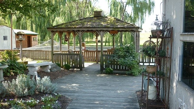 Landscaping Around a Porch or  deck with gazebo