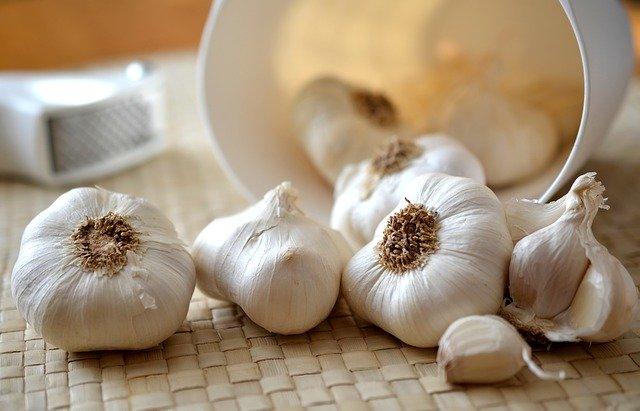 organic garlic bulbs on counter